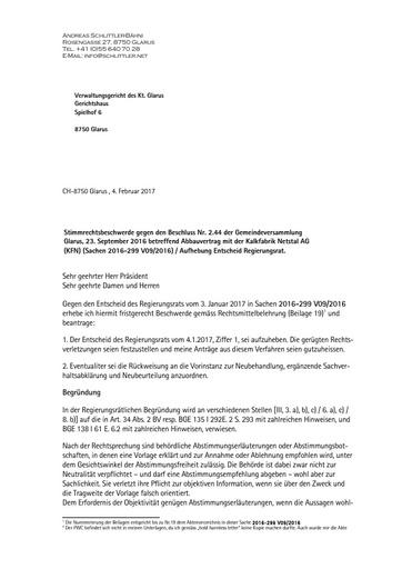 (Beilage 30 BG) Stimmrechtsbeschwerde Schlittler, Beschwerde Weiterzug vor Verwaltungsgericht (VG) 04.02.2017
